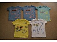 5 ASSORTED CHILDREN'S T SHIRTS * SEE IMAGE FOR COLOUR AND PATTERN * AGE 4/5