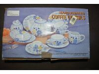 15 PIECE HAND PAINTED COFFEE SET NEW IN BOX