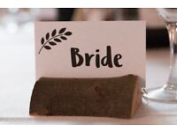 Rustic, homemade wooden place name holders (wedding)