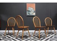 Set of 4 blond Ercol dining chairs. VGC. Free Edinburgh delivery