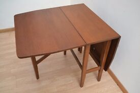 Vintage Dark Wood Fold-Away Drop Leaf Dining Table