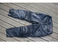 Mens black leather Cowhide lined motorbike trousers W36