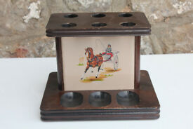 Vintage Irish Wooden Pipe Holder. Horses Tobacianna Pipe Stand Pipe Rack Ireland Unusual