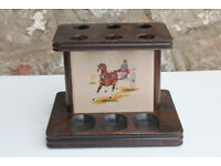 Vintage Irish Wooden Pipe Holder. Horses Tobacianna Pipe Stand Pipe Rack Ireland Unusual