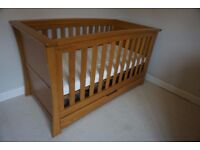 Cot Bed - Mamas and Papas Ocean - Solid Oak Wood
