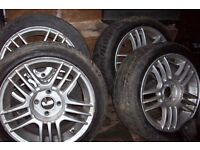 "15"" alloy wheel with 195 45 15 low profile tyres 4 by 100 vauxhall, toyota, nissan,honda,mitsubishi"