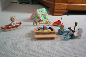 Sylvanian outdoor scene bundle: camping tent, bike and trailer, boat and picnic table. 3 characters