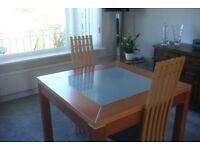 small square table and 2 matching chairs