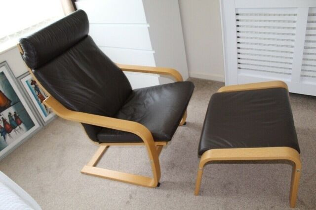 Strange Ikea Poang Leather Chair And Footstool In Telford Shropshire Gumtree Machost Co Dining Chair Design Ideas Machostcouk