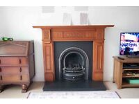 Gas fire, wooden surround and slate hearth