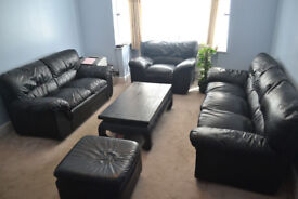 Black Leather Sofa Set (3 Seater, 2 Seater, Armchair and Stool) (Only £199!)