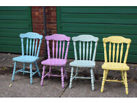 4 x Mid Century Shabby Chic Painted Chairs y