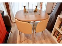 4-seat dining table, stow-away chairs - light beige and natural wood finish - like new!