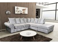 ROYAL CORNER SOFAS IN SILVER OR BLACK VELVET, WITH FREE MATCHING FOOT STOOLS
