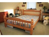 KING SIZE PINE DOUBLE BED & MATTRESS (hardly used)