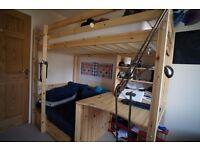 DREAMS Kinder Highsleeper Natural Solid Wood Single Bed Desk Blue Denim RRP 699 - Cambridge CB1