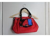 red and black women's handbag