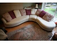 DFS sofa settee cream large curved 3 pieces