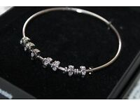 Silver Bangle with Swarovski Crystals