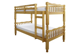 solid, wooden, thick, Brazilian pine, bunk bed, with x 2 thick, mattress, turns to single beds.