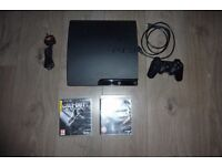 PS3 Playstation 3 Slim 320GB with black ops and black ops II COD