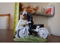 Bicycle Bride and Groom Porcelain Wedding Cake Top Topper