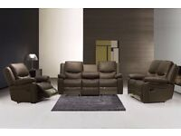 Stylish and Elegant 3 & 2 New Leather Recliner Sofa Suite, Free delivery