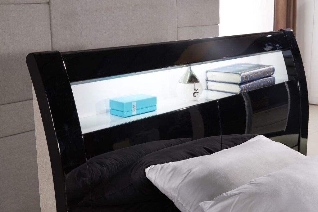 fc626ab13fa SALE - NEW BLACK   WHITE HIGH GLOSS OTTOMAN STORAGE BED FRAME WITH ...