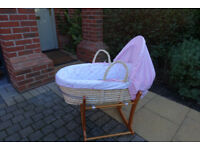 Baby Moses Basket On Rocker Stand