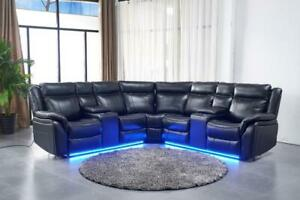 203695921f34 Marcelo Power Recliner Sectional with 2 Consoles in Black Leather Gel with  LED Light