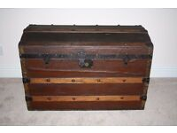 Large Vintage / Antique Dome Chest – wooden chest bound in leather and wooden bars – solid chest