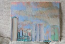 Original Andrew Lang Painting 'Evening Time at the Refinery'