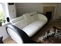 Italian Leather 3 seater Sofa Black & White **Bargain Price**