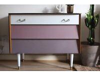 Upcycled Retro Vintage style teak Chest of drawers mid century