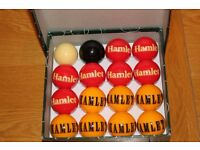 Collectable rare set of unused Hamlet Cigar pool balls