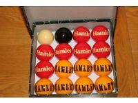 Collectable rare set of unused Hamlet Cigar pool balls