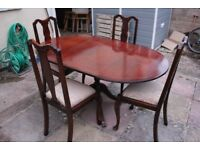 Mahogany Drop-leaf Dining Table & 4 Chairs