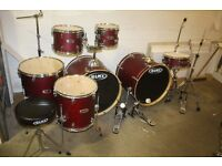 """Mapex VX Series Cherry Red 7 Piece Double Bass Drum Kit (22"""" Bass) + Stands + Stool + Cymbal Set"""