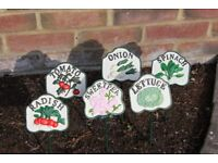 6 CAST IRON VEGETABLE SIGNS EXCELLENT CONDITION