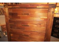 Large Modern Contemporary Acacia Wood Chest of Drawers