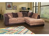 Cute BRAND NEW brown and beige corner sofa. foam filled cushions. delivery available