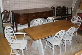 shabby chic 6ft solid oak table and six chairs