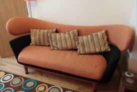 Retro Style Sofa in Orange and Black