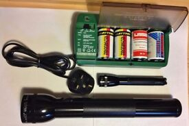 Genuine Original MAGLITE TORCHES 1 X 12inch, 1 X 6inch + CHARGER WITH 4 X D cells EXCELLENT COND.