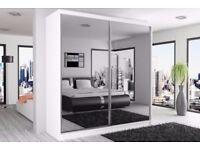 WOW AMAZING OFFER-- BRAND NEW BERLIN 2 DOOR SLIDING WARDROBE WITH FULL MIRROR-