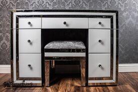 NEW White mirrored dressing table + stool - SWFurnishings