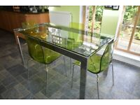 Frost Dining Table - Chrome / Glass and Green / Chrome Gel Chairs