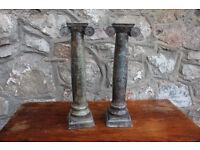 Pair of Heavy Metal Pillar / Column Candlestick Holders Candle Holder