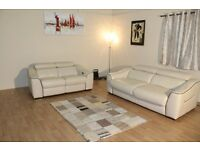 Ex-display Elixir cream leather 3 seater sofa bed and electric recliner 2 seater sofa