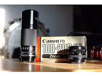 Canon FD 50mm f1.8 + Canon FD 100-200 f5.6 zoom lens